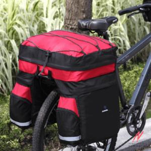 Велосипедный рюкзак 80л, вид на велосипеде